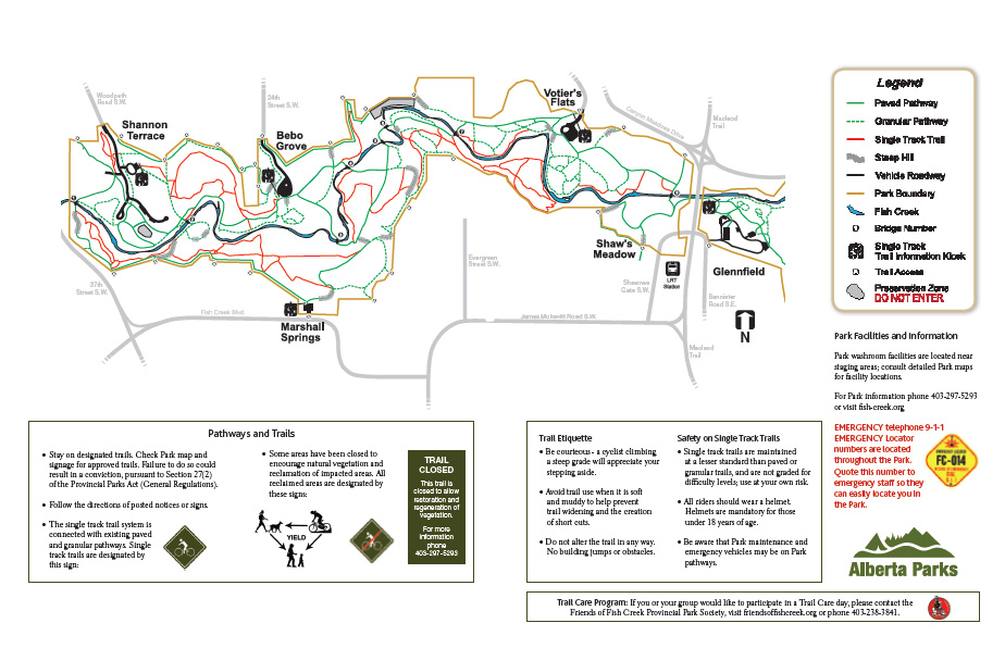 Fish Creek Park Map Fish Creek Single Track Trail Map   Experience Calgary